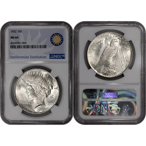 1922 Peace Dollar in NGC MS 64 - Smithsonian Institution Label