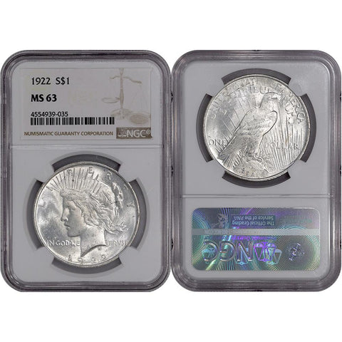 1922 Peace Dollar in NGC MS 63 - Choice Brilliant Uncirculated