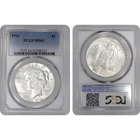 1922 Peace Dollar in PCGS MS 63 - Choice Brilliant Uncirculated