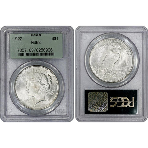 1922 Peace Dollar in PCGS MS 63 OGH - Choice Brilliant Uncirculated