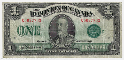 1923 $1 Dominion of Canada Group 2 Green Seal DC-25j ~ Very Fine