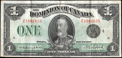 Canada, Dominion of Canada 1923 $1 - DC25o - Choice Very Fine