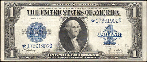 1923 $1 Large-Size Silver Certificate Star Note Fr. 238* ~ Very Fine