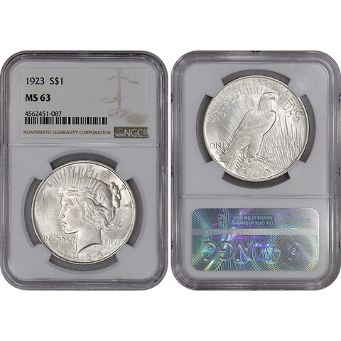 1923 Peace Dollar in NGC MS 63 - Choice Brilliant Uncirculated