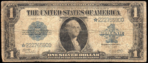 1923 $1 Large-Size Silver Certificate Star Note Fr. 238* ~ Very Good