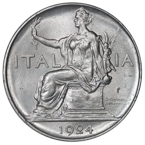 1924-R Italy 1 Lire KM.62 - Choice Brilliant Uncirculated