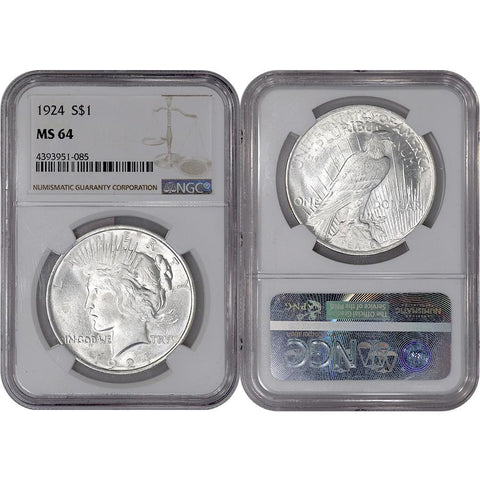 1924 Peace Dollar in NGC MS 64 - Choice Brilliant Uncirculated
