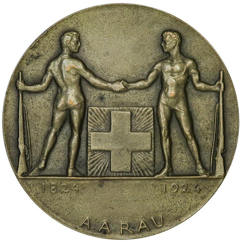 1922 Switzerland, Aarau Bronze Shooting Festival Medal 50mm - About Uncirculated