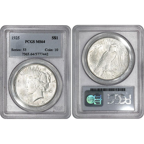1925 Peace Dollar in PCGS MS 64 - Choice Brilliant Uncirculated