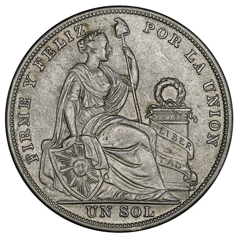 1925 Peru Silver Sol KM.218.1- Choice About Uncirculated