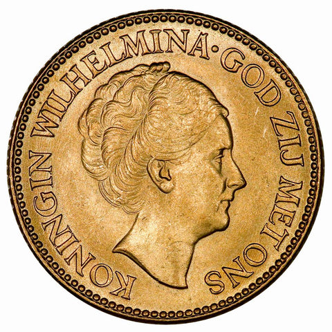 1926 Netherlands Wilhelmina I Gold 10 Gulden - KM.162 - Brilliant Uncirculated