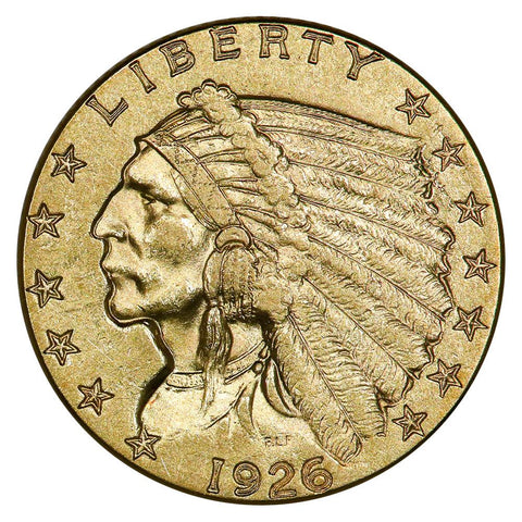 1926 $2.5 Indian Quarter Eagle Gold Coin - About Uncirculated+