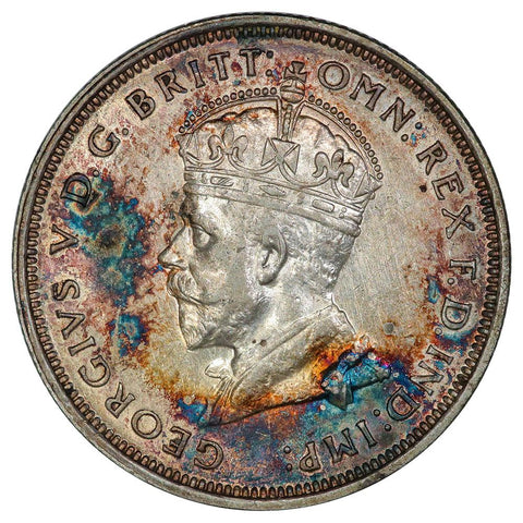 1927 Australia Silver Florin KM.31 - Toned About Uncirculated