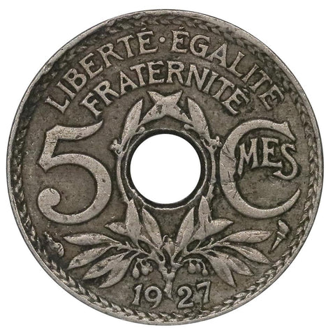 1927 France 5 Centimes KM.875 - Very Fine