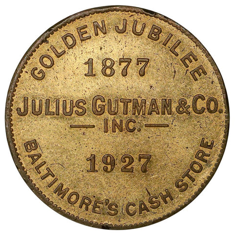 1927 Julius Gutman & Co. Baltimore MD Golden Jubilee Token 25mm - Unc
