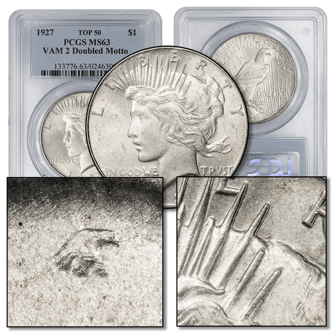 1927 Peace Dollar Top-50 VAM-2 Doubled Motto - PCGS MS 63