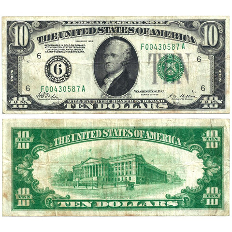 1928 $10 Federal Reserve Note Atlanta District Fr. 2000-F - Very Fine