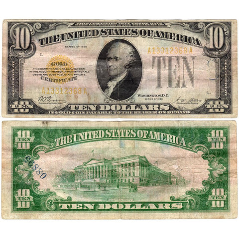 1928 $10 Small-Size Gold Certificate Fr. 2400 -  Net Very Good