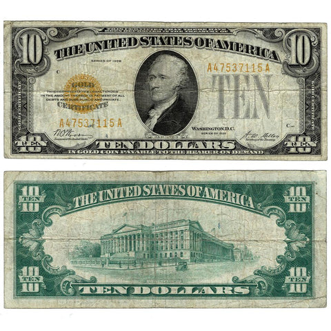 1928 $10 Small-Size Gold Certificate Fr. 2400 - Fine