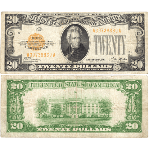 1928 $20 Small-Size Gold Certificate Fr. 2402 - Fine
