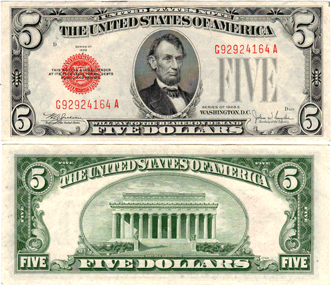 1928 $5 Legal Tender Notes