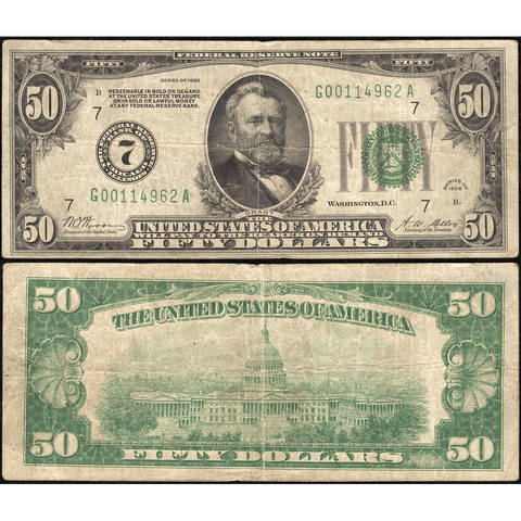 1928 $50 Federal Reserve Note Chicago District FR. 2100G - Fine
