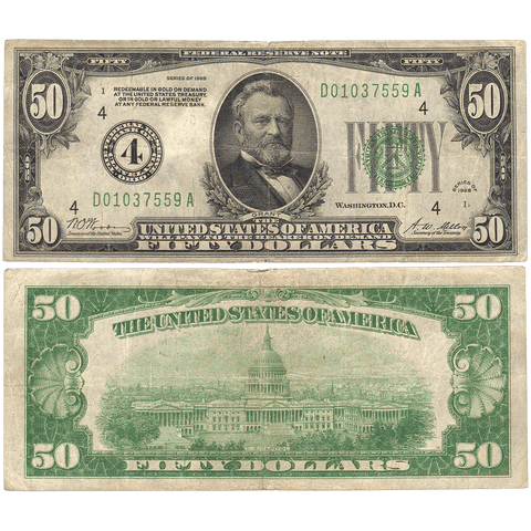 1928 $50 Federal Reserve Note Cleveland District FR. 2100D - Fine+
