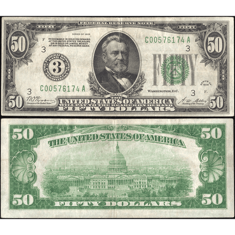 1928 $50 Federal Reserve Note Philadelphia District FR. 2100C - Very Fine