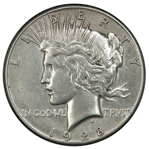 1928 Peace Dollar - XF/AU Detail (cleaned)