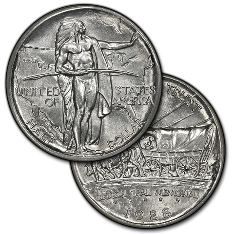(1926 to 1939) Oregon Trail Silver Commemorative Half Dollar - Brilliant Uncirculated