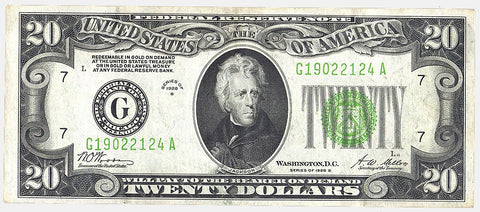 1928-B $20 Federal Reserve Note (Chicago District) FR. 2052-G - Very Fine