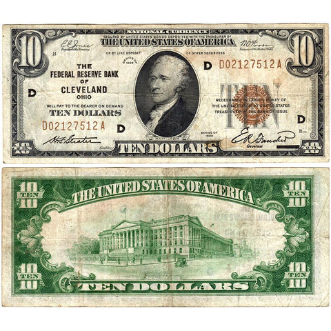 1929 $10 Cleveland Federal Reserve Bank Note Fr.1860-D - Very Fine