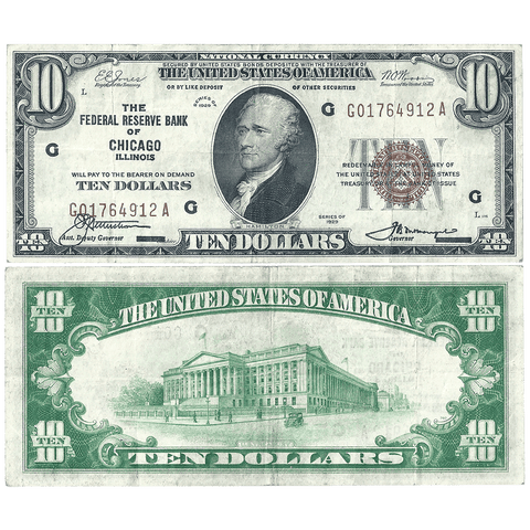 1929 $10 Chicago Federal Reserve Bank Note Fr.1860-G - Very Fine