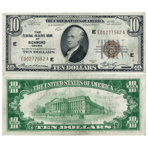 1929 $10 Richmond Federal Reserve Bank Note Fr.1860-E - Very Fine