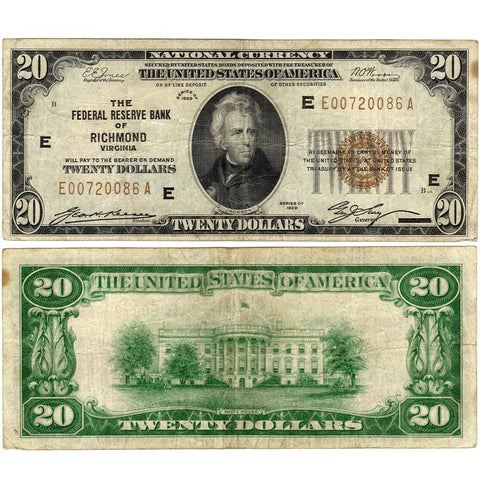 1929 $20 Federal Reserve National Bank Note, Richmond Fr. 1870-E - Very Fine