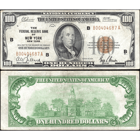 1929 $100 New York Federal Reserve Bank Note Fr.1890-B ~ Crisp Very Fine