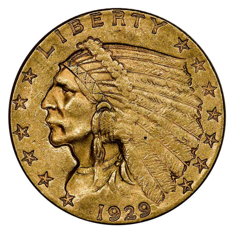 1929 $2.5 Indian Quarter Eagle Gold Coin - About Uncirculated