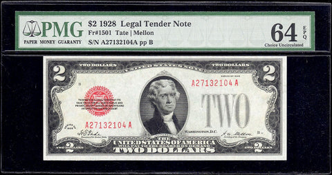 1928 $2 Legal Tender Note Fr. 1501 - PMG Choice Uncirculated 64 EPQ
