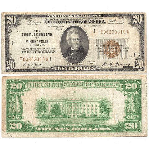 1929 $20 Federal Reserve National Bank Note, Minneapolis Fr. 1870-I - Very Good