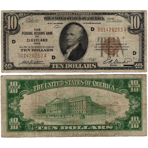 1929 $10 Cleveland Federal Reserve Bank Note Fr.1860-D - Very Good