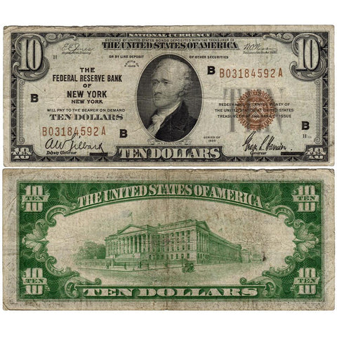 1929 $10 New York Federal Reserve Bank Note Fr.1860-B - Fine+