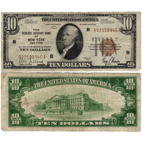 1929 $10 New York Federal Reserve Bank Note Fr.1860-B - Very Fine