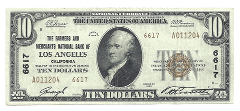 1929 T.2 $10 Farmers & Merchants National Bank of Los Angeles, CA Charter 6617 ~ Very Fine