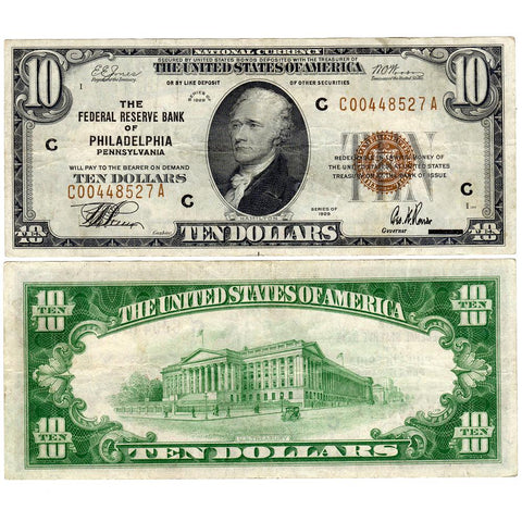 1929 $10 Philadelphia Federal Reserve Bank Note Fr.1860-C - Very Fine