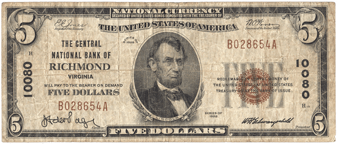 1929 Type-1 $5 Central National Bank of Richmond, VA Charter 10080 - Fine