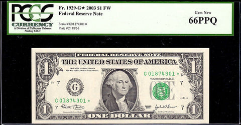 2003 $1 Federal Reserve Star Note Chicago District Fr. 1929-G* - PCGS Gem New 66 PPQ
