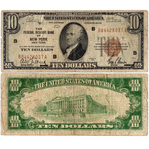 1929 $10 New York Federal Reserve Bank Note Fr.1860-B - Fine