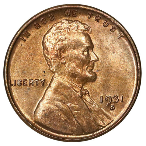 1931-S Lincoln Wheat Cent - Red & Brown Uncirculated (Toned Reverse)