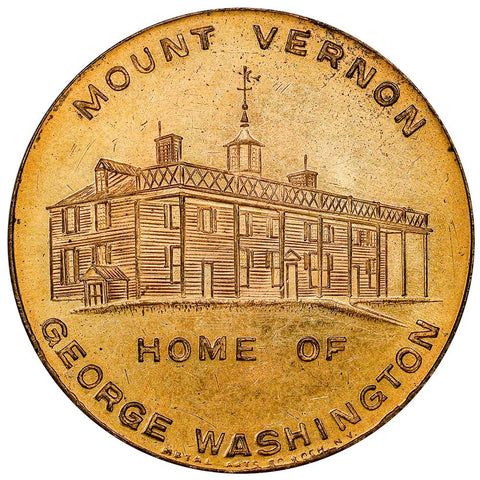 1932 George Washington Mount Vernon Home 32mm Gilt Bronze Medal - About Uncirculated