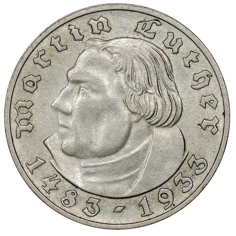1933-A Germany, Third Reich Silver Martin Luther 2 Marks KM.79 - About Uncirculated